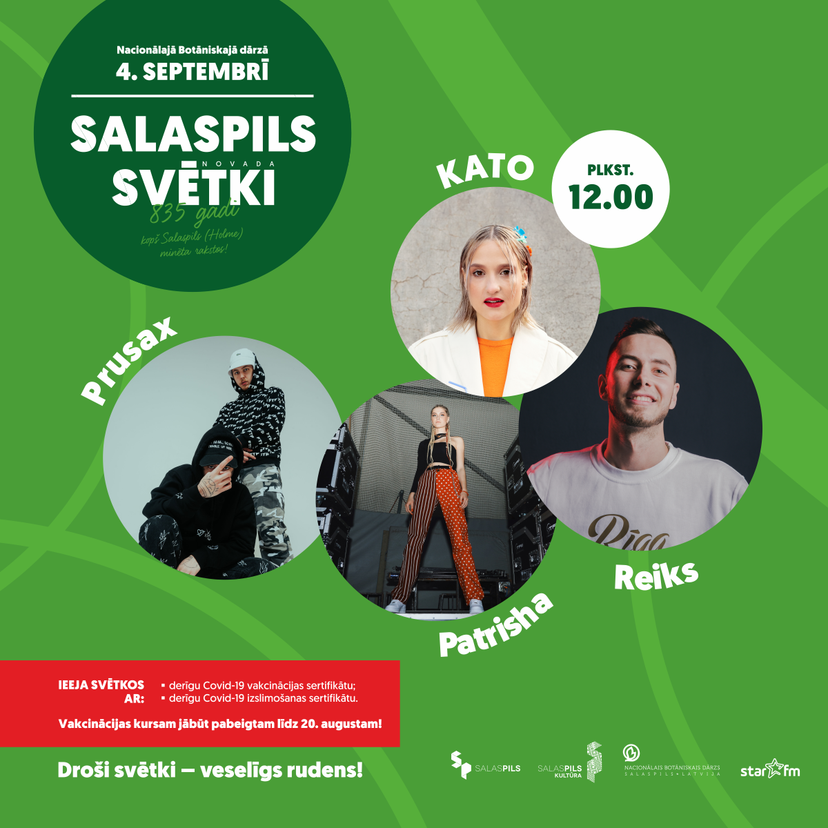 Salaspils novada svētki – 12:00 Kato, Reiks, Patrisha, Prusax